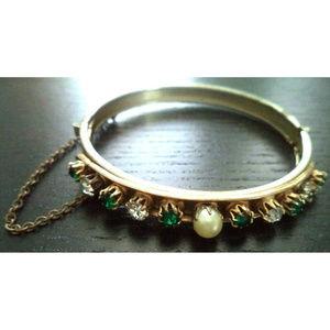 vintage green rhinestone pearl clamper bracelet